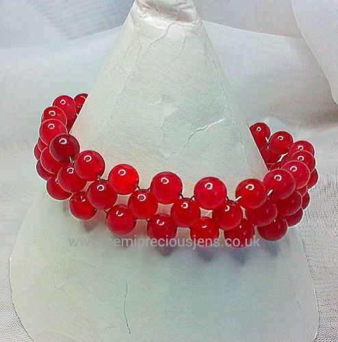 Deep Red Quartzite Weave Bracelet