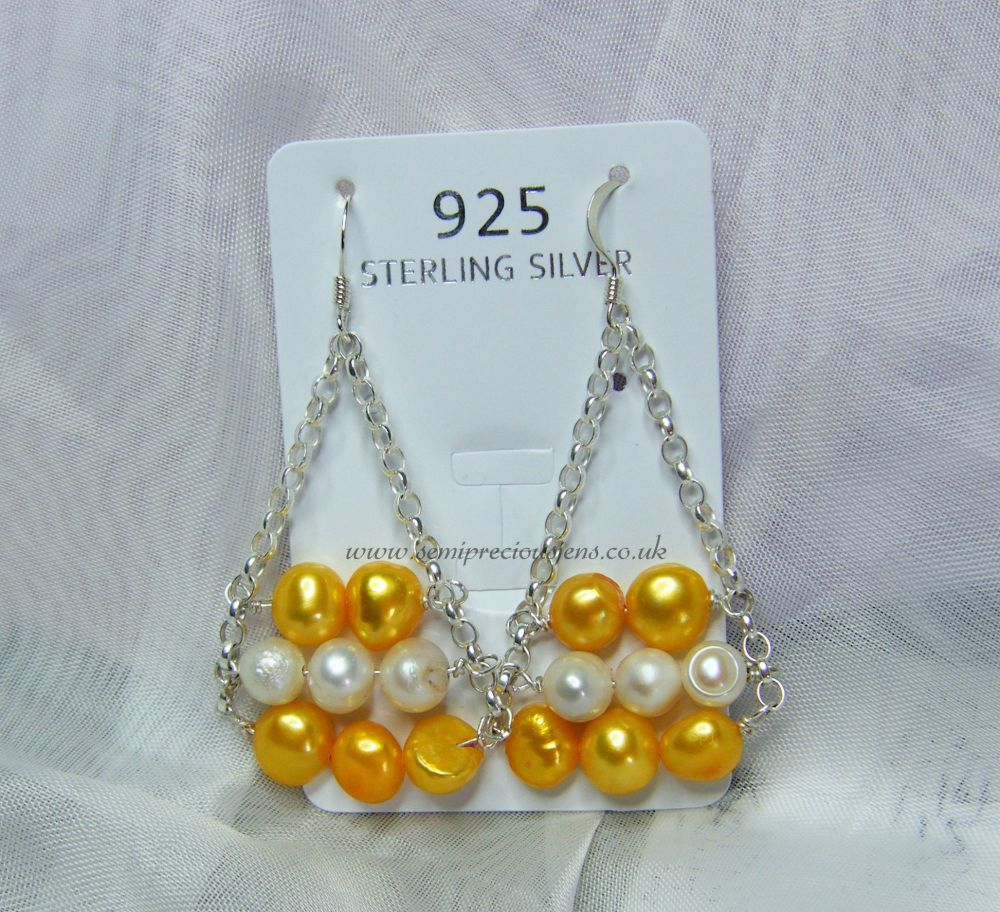 Yellow & White Pearl Chain Earrings