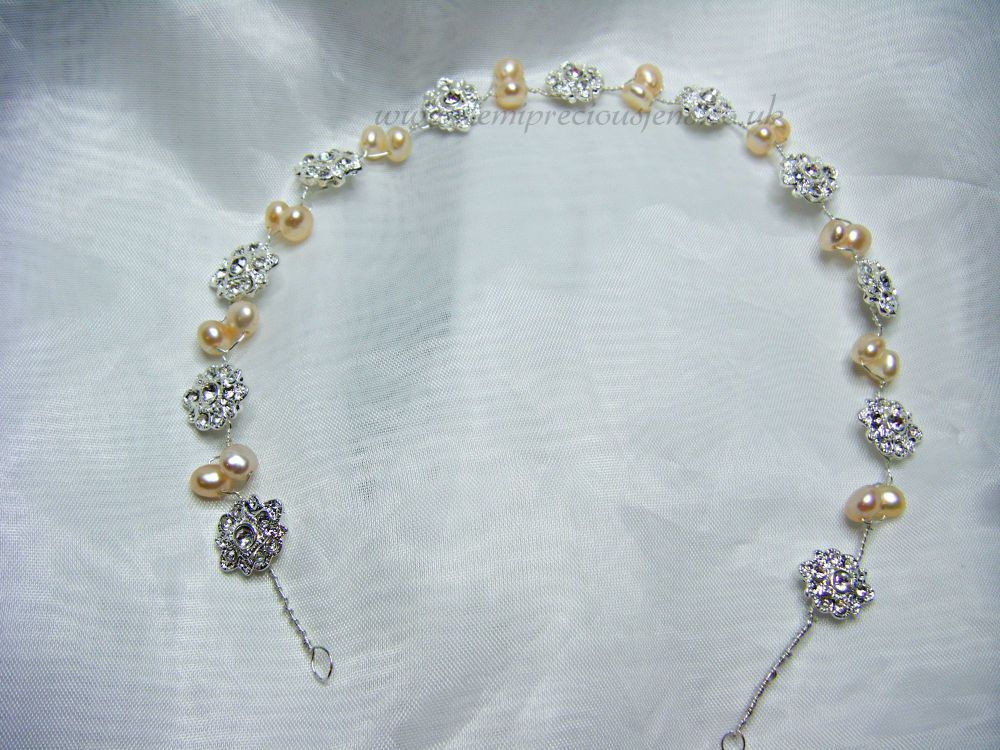 Peach Pearl & Diamante Flower Hair Vine