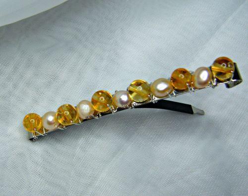 Citrine & Apricot Pearl Barrette Hair Clip