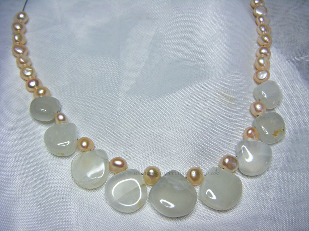 Rainbow Moonstone & Pearl Chained Necklace