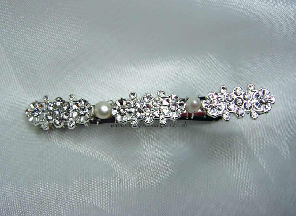 Long Diamante Flowers & White Pearl Barrette Hair Clip