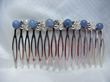 Aquamarine  & Iron Bead Sparkle Hair Comb