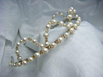 "White Freshwater Pearl & Champagne Preciosa Bead ""Crown"" Tiara"