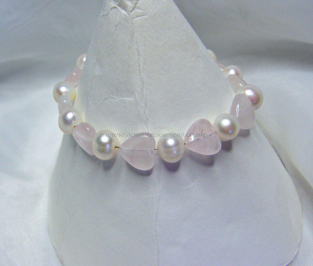 Rose Quartz & White Freshwater Pearl Bracelet