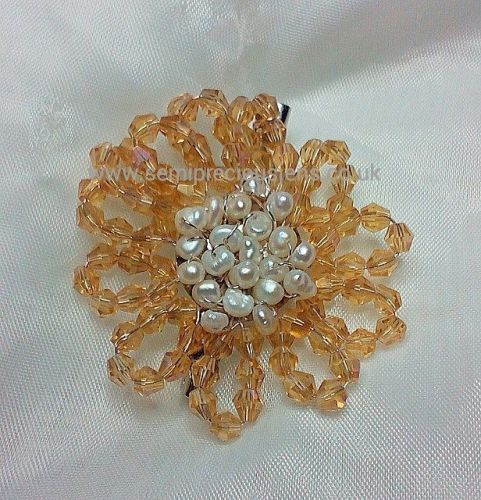 White Freshwater Pearl & Gold Bicone Flower Brooch