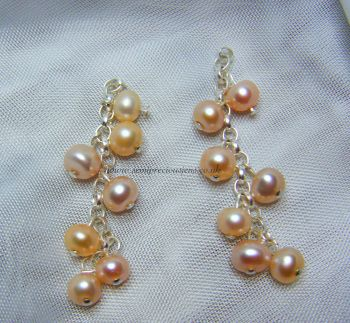 Peach Pearl Chain Earrings