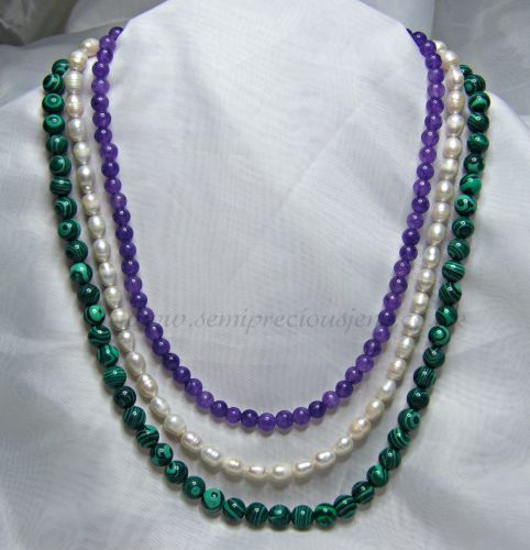ML-AM-WP-N3 Malachite, Amethyst and White Freshwater Pearl Necklace