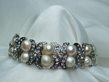 "Freshwater Pearl & ""Diamante"" Bracelet"