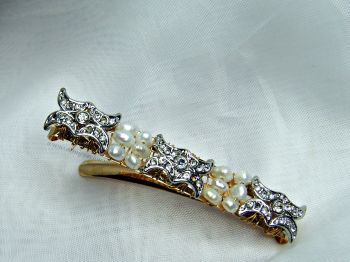 "White Pearl & ""Diamante"" Hair Comb"