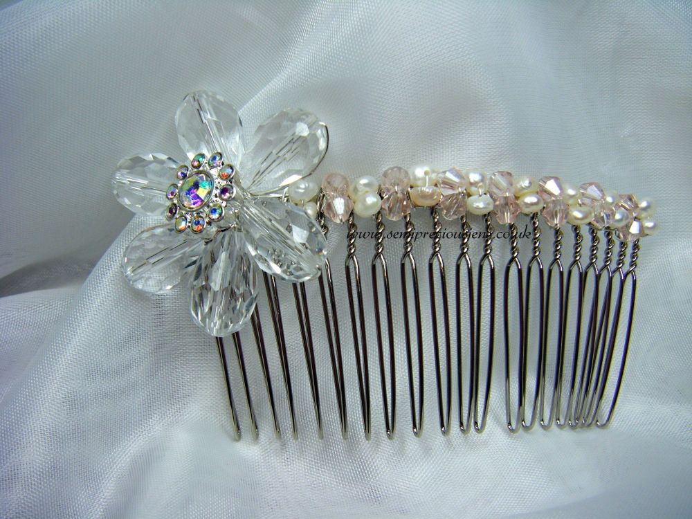 Freshwater Pearl & Crystal Flower Hair Comb