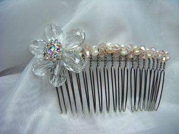 Freshwater Pearl & Crystal Flower Hair Comb