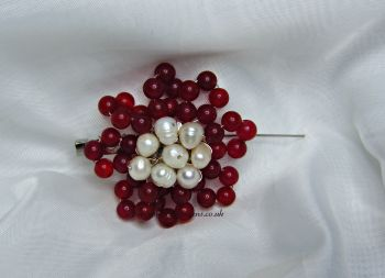 Red Quartzite & Pearl Brooch