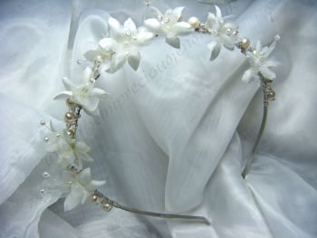 White Pearl & Baby's Breath Flower Tiara