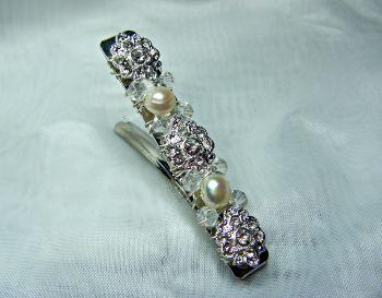 Pearl & Diamante Barrette Hair Clip