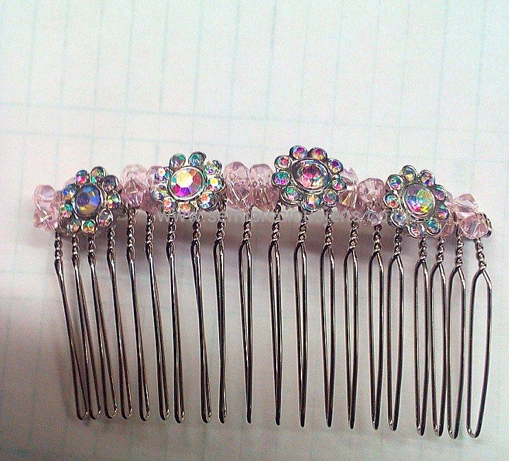 Diamante & Pink Sparkle Bicone Hair Comb