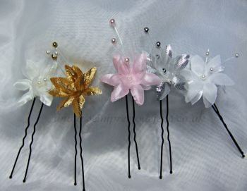 """Baby's Breath"" Flower Hair Pin x 3"