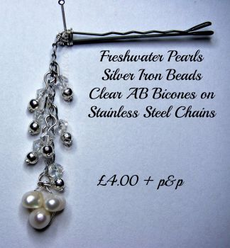 White Freshwater Pearl Chain Hair Pin