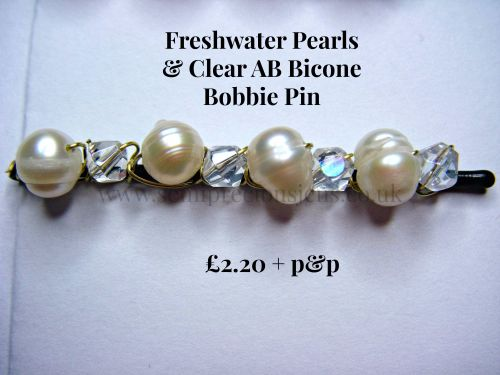White Freshwater Pearls & AB Bicone Hair Grip