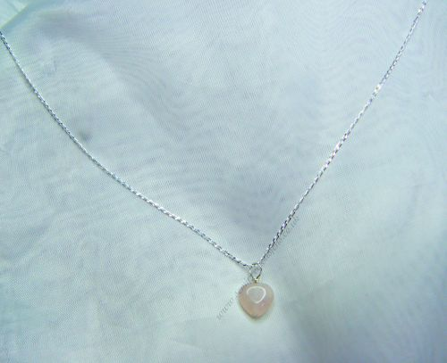 Rose Quartz Heart on Sterling Silver Curb Chain