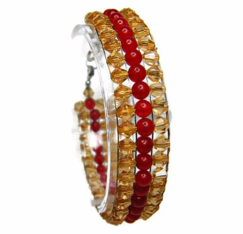 Deep Red Quartzite & Gold Bicone Braclet