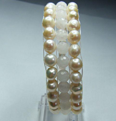 Freshwater Pearl & Rose Quartz Bead Loom Bracelet