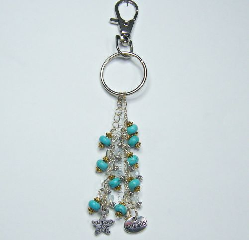 Turquoise & Opalite Friends Charms Keyring/Bag Charm