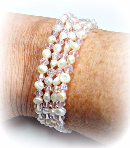White Freshwater Pearls & Pink AB Glass Bicone Bracelet/Cuff