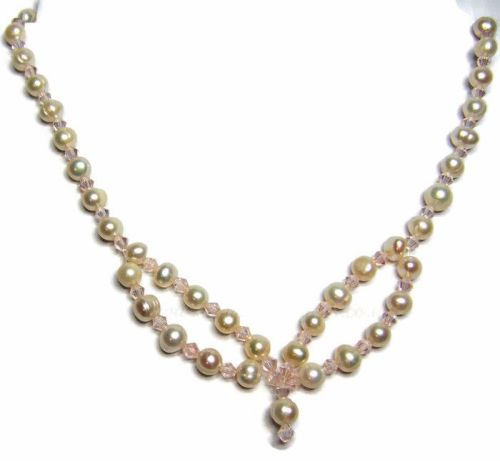 Freshwater Pearls & Pink Bicone Necklace