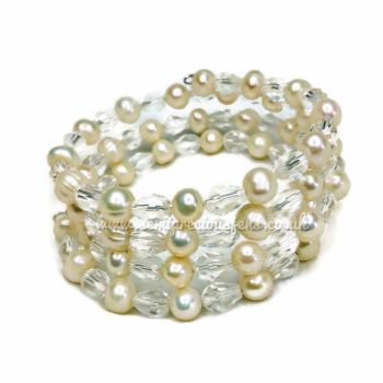 Freshwater Pearl & Crystal Teardrop Wrap Around Bracelet