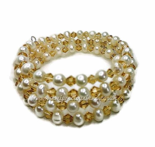 Freshwater Pearl & Golden Bicone Wrap Around Bracelet