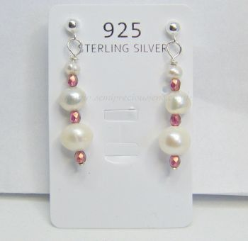 White Freshwater Pearls & Pink Bicone Earrings