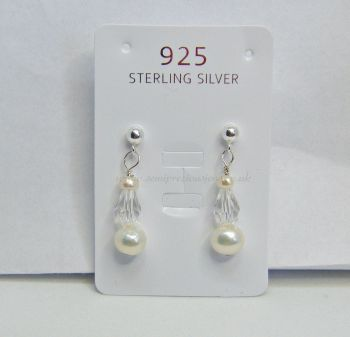 White Freshwater Pearls & Faceted Teardrop Earrings