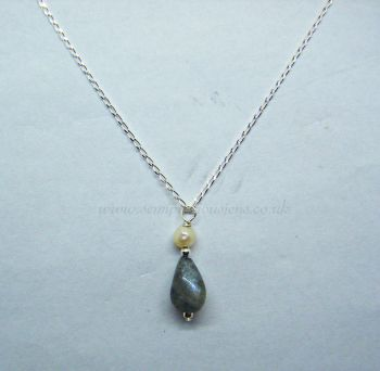 Labradorite & Freshwater Pearl Pendant on Sterling Silver Chain