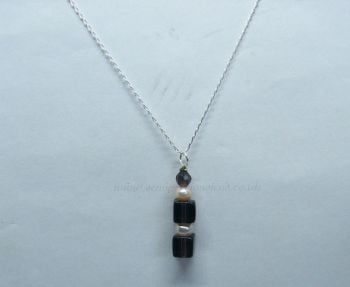 Smokey Quartz & Freshwater Pearl Pendant on Sterling Silver Chain