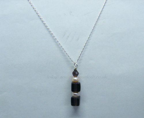 Smokey Quartz & Freshwater Pearl Pendant on Sterling Silver Chain