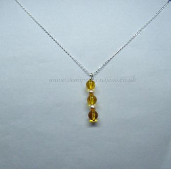 Citrine & Freshwater Pearl Pendant on Sterling Silver Chain