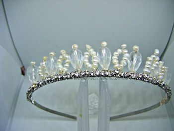 Freshwater Pearl & Crystal Glass Teardrop Sparkle Tiara
