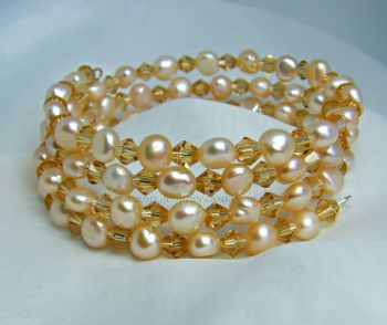 Apricot Pearl & Gold Bead Wrap Around Memory Wire Bracelet