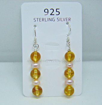 Citrine & Peach Pearl Earrings