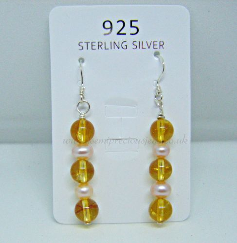 Citrine & Peach Pearl Earrings