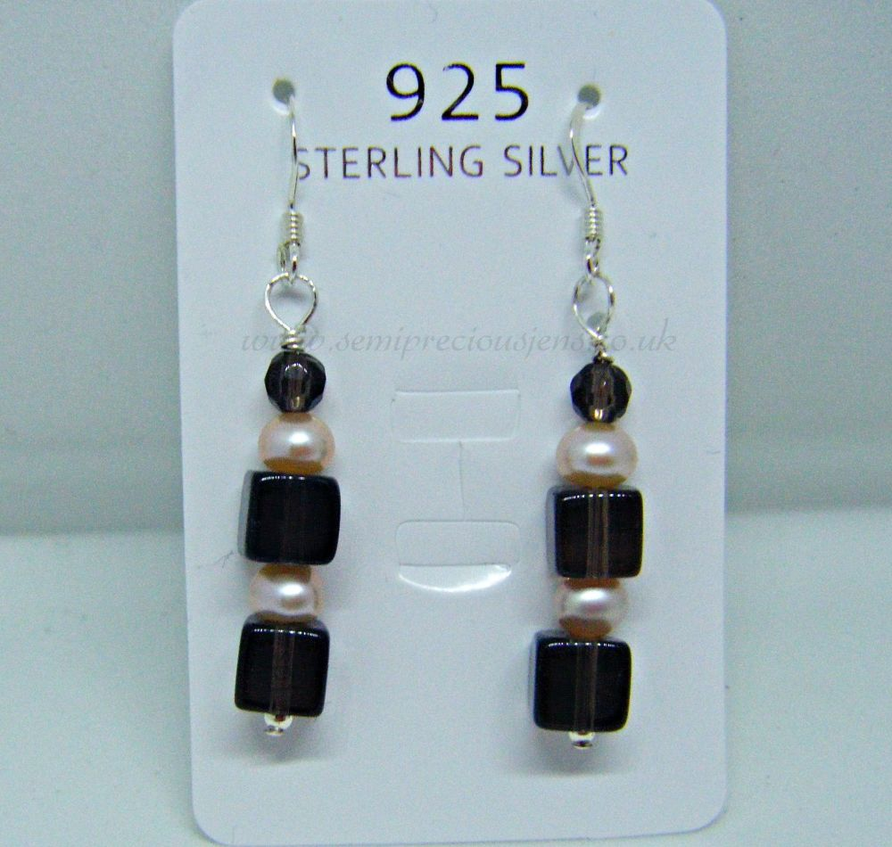 Smokey Quartz & Peach Pearl Earrings