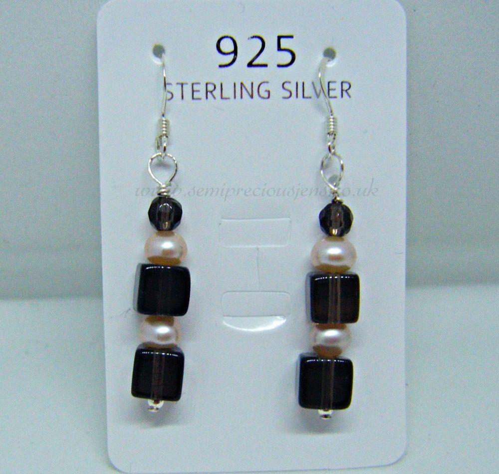Smokey Quartz & Peach Pearl Earrings