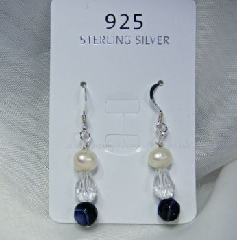 Purple Striped Agate & Pearl Earrings
