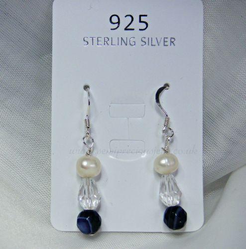 Purple Striped Agate & Pearl Earrings