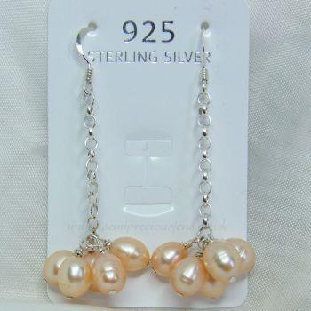 Peach Freshwater Pearl Sterling Silver Chain Earrrings
