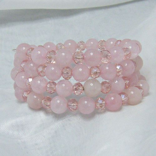 Rose Quartz Wrap Around Memory Wire Bracelet