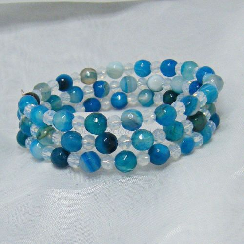 Blue Striped Agate & Opalite Wrap Around Memory Wire Bracelet