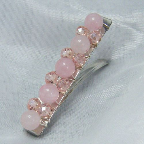 Rose Quartz Barrette Hair Clip