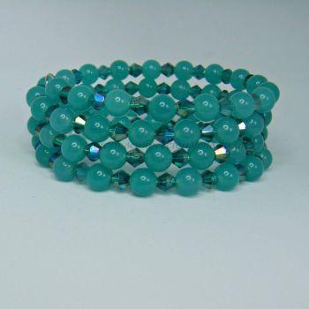Sea Green Quartzite Memory Wire Wrap Around Bracelet